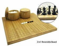 Full Size 2in1 Go Chess Game Set Reversible Bamboo Board, Bowls, Bakelite Stones