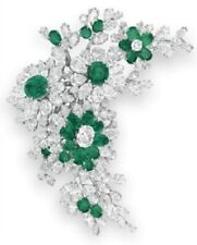 Beautiful Flower Design With Green Emerald & CZ Elizabeth Taylor Big Star Brooch