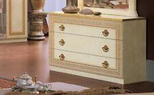 Kommode Highboard Schubladen Beige-Gold Hochglanz Mäander Muster Möbel Italien