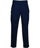Men's Work Pants Cargo Pocket Navy Blue Industrial Uniform Elastic Waist REED