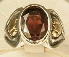 James Avery RETIRED 14K Gold and Sterling Silver Oval Garnet Ring Size 6.5