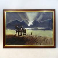 Fantastic Original Oil on Board by Alan Ward - Landscape with Horses Ploughing