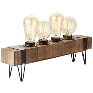 Tisch Industrie Leuchte Lampe Retro Vintage Design WOODHILL antik schwarz Holz