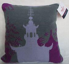 """$65 NWT Jonathan Adler Pillow Purple Pagoda Needlepoint/Velvet 14"""" Square"""