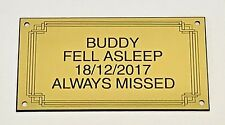 Pet Memorial Personalised Brass Effect Plaque Engraved Dog Cat Grave 11cm X 6cm
