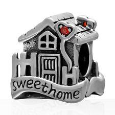 Sweet Home House 925 Sterling Silver CZ Charm Bead Fits European Bracelet S3535