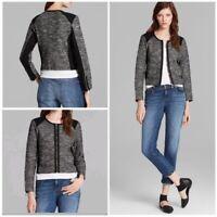 NWT EILEEN FISHER Sz SM Black Gray Tweedy Knit Cotton Blend Zip Jacket $348