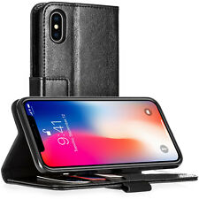 Apple iPhone X Caso Reale Vera Pelle Slim Folio Stand foto Id Portafoglio Cover