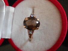 VINTAGE 10K GOLD AND 10X8MM OVAL CUT NATURAL SMOKEY TOPAZ RING SIZE 7 NOT SCRAP