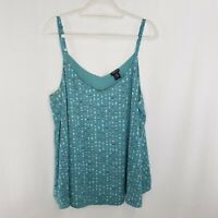 Torrid Size 2 Tank Top Green Pink Adjustable Spaghetti Strap Lined