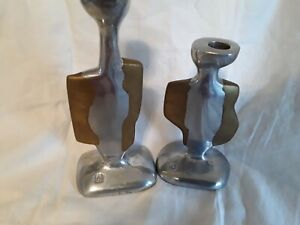 Pair Of Vintage Brutalist Candle sticks By David Marshall 1970's Spanish