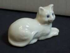 Vintage Blue Eyes White Cat Porcelain Figurine Small Sitting Kitten Miniature