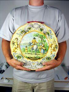 Large Historiated Plate Majolica Ceramic 19th C Signed Achile Mollica Naples (a)