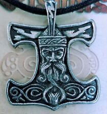 Norse THOR'S HAMMER Pewter Pendant Amulet w/ black cord ~ WICCA Pagan ASATRU
