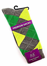 Uomo Venetto Argyle Mens Socks Novelty Casual Fashion Crew Green Lime Sox New
