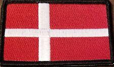 DENMARK  Flag Embroidered Iron-On Patch Military Emblem Black Border