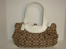 Coach signature ERGO pleated satchel  Khaki White 14380