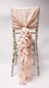 Quality Chiffon Organza Chair Hoods with Ruffles Pink Home Decor Wedding Event