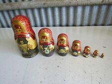 Vintage Russian Matryoshka Nesting Dolls 7 Layers Marked FMECT THA 3020pck Nice