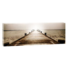 Bild Strand Meer Keilrahmen Leinwand Wandbild Poster XXL Steg 120 cm*40 cm 476