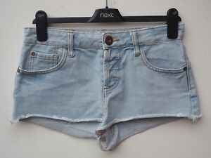 Fantastic RIVER ISLAND Pale Blue Bleached Denim Hotpants / Shorts size UK 8