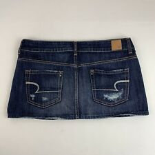 American Eagle Jean Mini Skirt Distressed Button Fly Dark Wash Denim