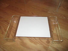 "lucite acrylic cheese and cracker tray 14"" x 8"" x 2"""