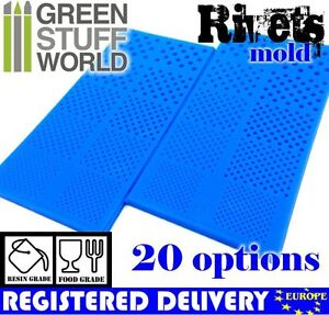 Pack x2 Semi-translucent RIVETS Textured Stamp SILICONE MOLD - for resins