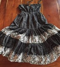 GAP women's maxi dress boho Chic Black White Cotton Ruffles Size 0 N102