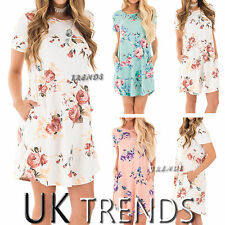 UK Womens Summer Floral Print T Shirt Swing Ladies Cap Sleeves Dress Size 6-14
