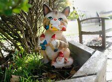 Novelty Cat Eating Gnomes Garden Ornament Outdoor Decor Kitten Fun Statue Tabby