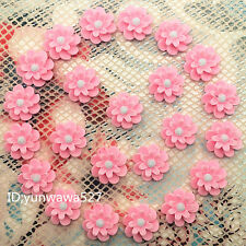 NEW 20pcs pink  Resin flower flat back Scrapbooking For phone/craft