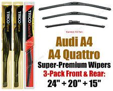 Wiper Blades 3pk Front + Rear fit 2011+ Audi A4 & A4 Quattro - 25240/200/15i