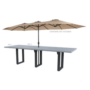 Outdoor Concrete Dining Table with planter umbrella hole