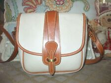 Vtg Dooney & Bourke beige & brown leather shoulder bag crossbody carryall  #311