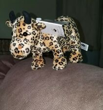 """Cow Parade Plush Leopard Print Cow with Udders Black Gold Westland Giftware 8"""""""