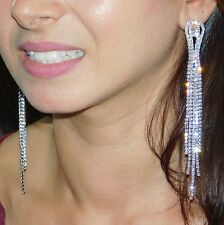 "WEDDING BRIDAL SILVER CLEAR RHINESTONE 5"" LONG CHANDELIER EARRINGS"