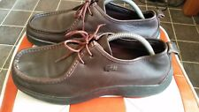 LACOSTE SANREMO CHAUSSURES SHOES UK 9 BROWN LEATHER LACE UPS