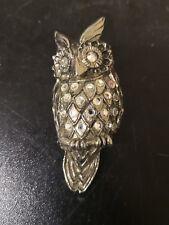 White Metal Crystal Set Owl Brooch Costume Jewellery