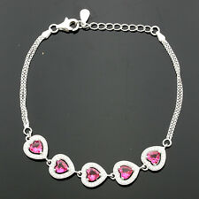 Ladies Sterling Silver Heart  Micro Pave Set Cubic  Zirconia Bracelet GIFTBOXED