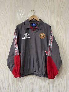 MANCHESTER UNITED 1995 1996 FOOTBALL SOCCER DRILL TOP JACKET UMBRO sz M MENS GRA