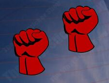 2x Car Stickers ANGRY RED FIST Novelty Van Window Bumper Laptop Bedroom Printed