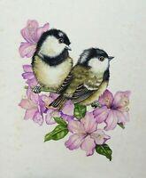 Coal Tit chicks. 1980s ORIGINAL professional greetings card commercial art birds