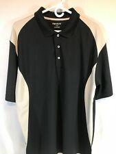 Top Flite Golf Polo Short Sleeve Shirt Mens Sz XL 100% Polyester Black & Tan