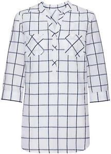 Ladies Checked Blouse- White & Black -3/4 Length Sleeves- UK Size 26- NEW