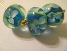 12 Refined Blue Floral Flower 13 x 9 mm  Lampwork  Glass Beads ABL