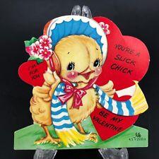 Vtg 40s 50s Valentines Card Slick Easter Chick Chicken Baby Farm Animal Die Cut