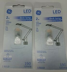 GE Lighting 13419 Frosted G4 Base T3 LED Desk Lamp 12 volt Warm White 2W - Qty 2