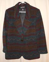Women's Wool Jacket Coat Southwest Indian Blanket Aztec Medium