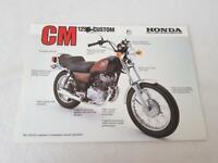 HONDA CM125 CUSTOM Motorcycle Sales Specification Leaflet c1984
